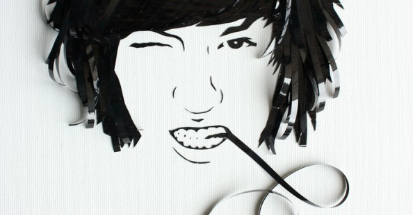 Music tape portraits by Erika Iris Simmons