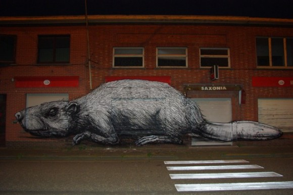 Animals anatomy graffiti by Roa