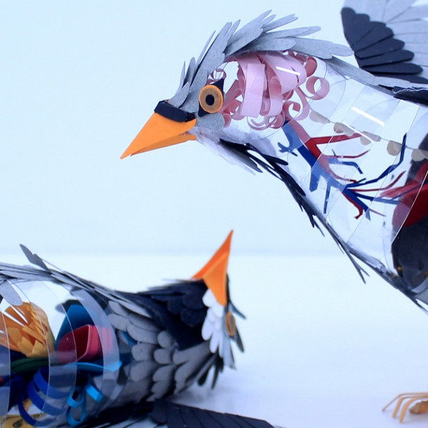 Paper Cut Bird SculpturesPaper Cut Bird Sculptures