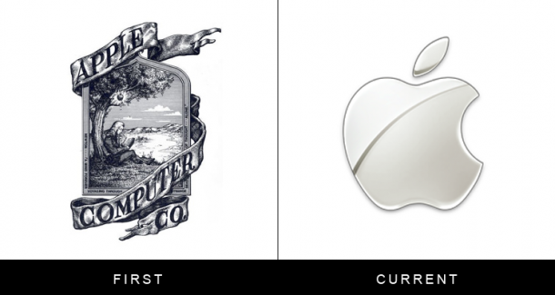 The original and current form of famous logos