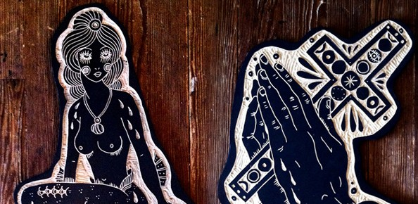 Tattoo Woodcuts by Bryn Perrott