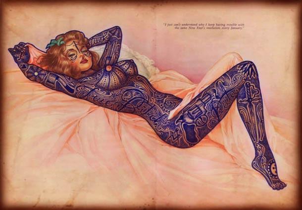 Ramon Maiden's tattoos on old printsRamon Maiden's tattoos on old prints