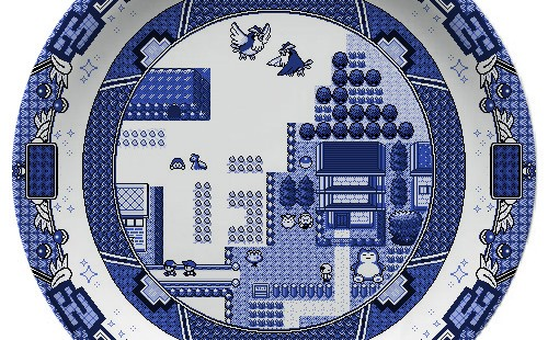 Blue Willow Video Game Dinnerware Pattern by Olly MossBlue Willow Video Game Dinnerware Pattern by Olly Moss