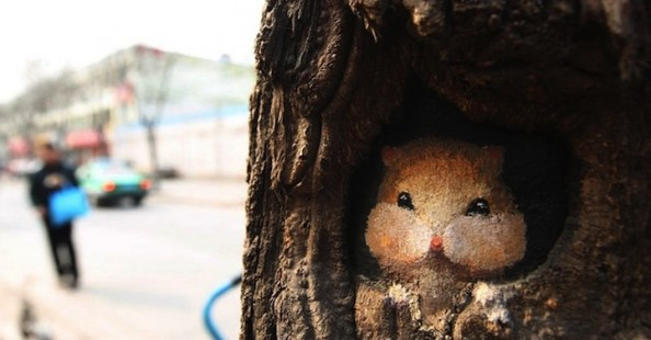 Tree holes paintings by Wang Yue