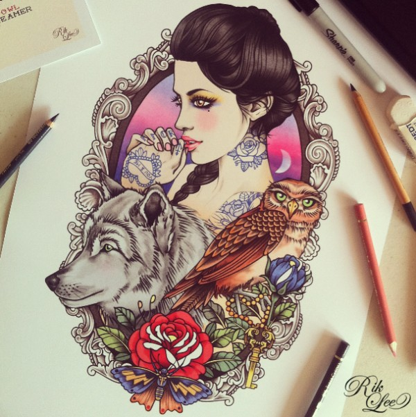 Stunning illustrations by Rik Lee | Wolf hat, Drawings