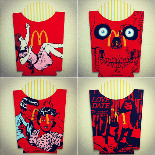 Illustrations on French Fries Packages by Ben Frost