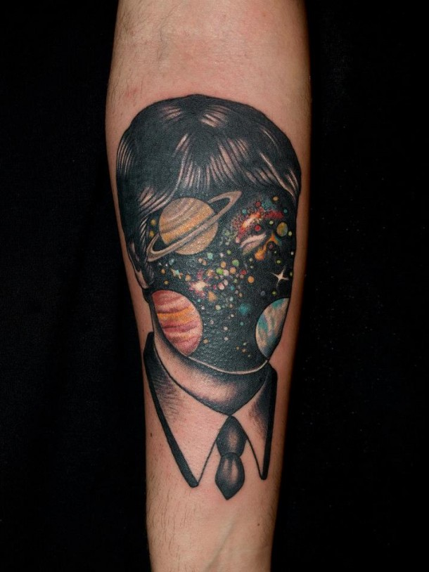 Surreal portraits tattoos by Pietro Sedda
