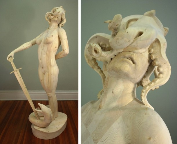 Hand carved wood sculptures by Morgan Herrin