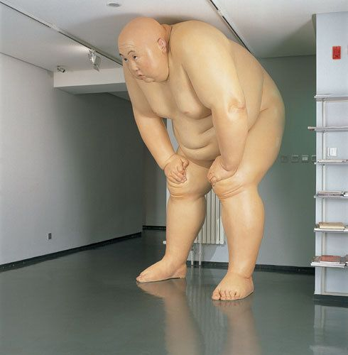 Naked obese men sculptures by Mu Boyan