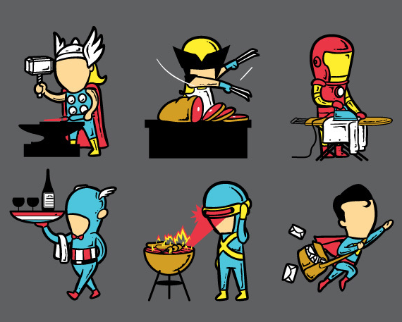 Super heroes second jobs by Chow Hon Lam