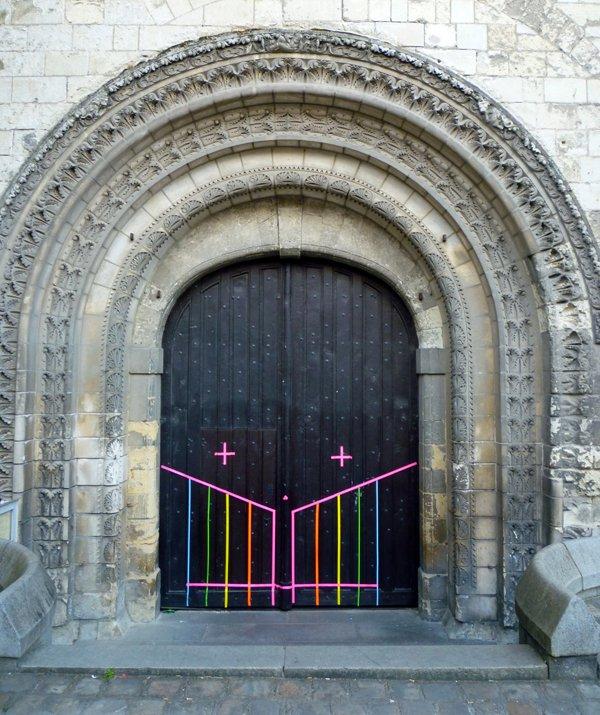 Colorful Geometric Street Art by Okuda