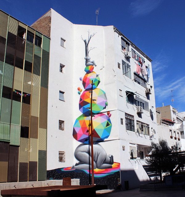 Colorful Geometric Street Art by Okuda