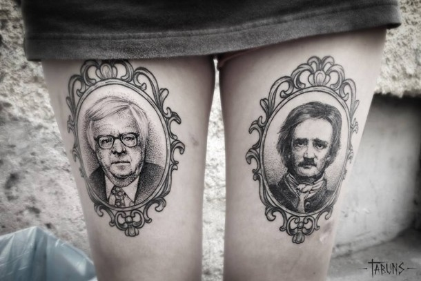 Beautiful black ink tattoos by Alex Tabuns