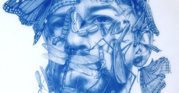 Blue drawings by Zachari Logan