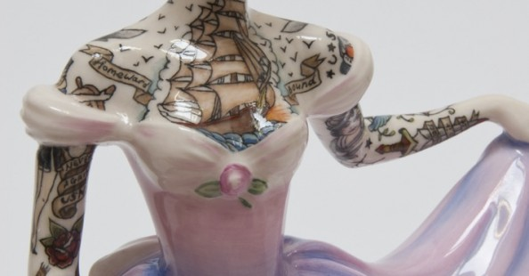 Tattoed ceramic ladies by Jessica Harrison